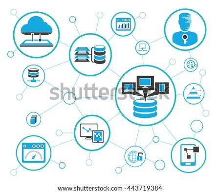 Analytics Data Icons Network Diagram On Stock Vector 443719384