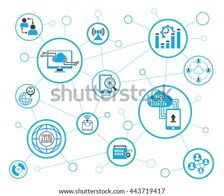 Analytics Data Icons Network Diagram On Stock Vector Hd Royalty