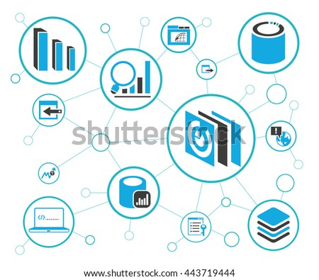 Analytics Data Icons Network Diagram On Stock Vector 443719444