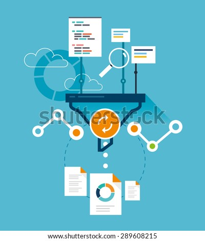 Analytics funnel, website optimization - stock vector