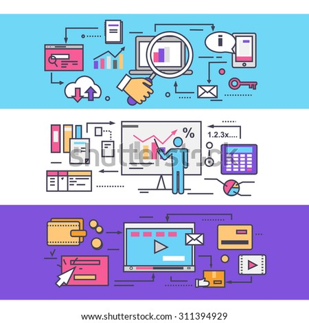 Analytics statistics seo. Video marketing concept. Optimization statistic business, media management, strategy planning, promotion content, market organization process. Thin, lines, outline flat icons - stock vector