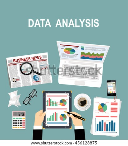 Analyzes data. Analysis concept, flat design. Process research financial growth, statistics, data analysis, document, market, strategic, report. Development Planning. Vector - stock vector
