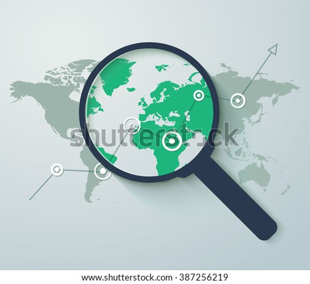 Analyzing. Graph with arrow up and magnifying glass. Business concept. Vector illustration. Flat design style. - stock vector