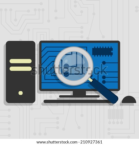 Analyzing the hardware and the electronic circuit of the pc with a magnifying glass. - stock vector