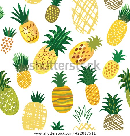 Ananas background, seamless pattern - stock vector