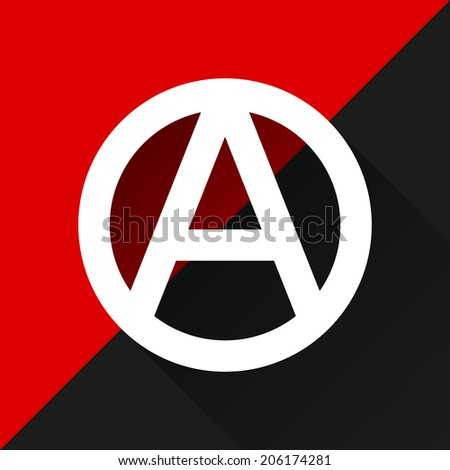 Anarchist flag with Anarchy symbol - stock vector
