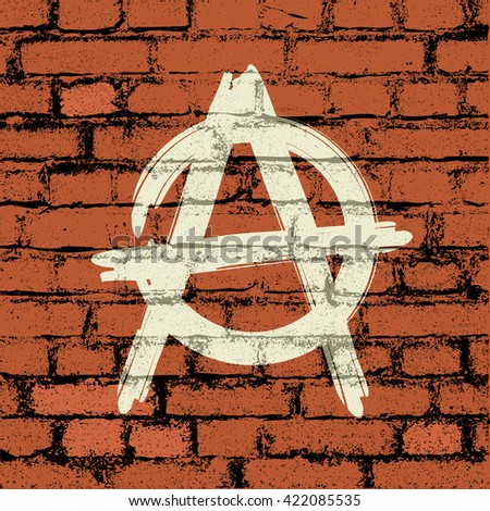 anarchy sign on brick wall - stock vector