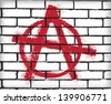 Anarchy symbol on the brick wall - stock vector