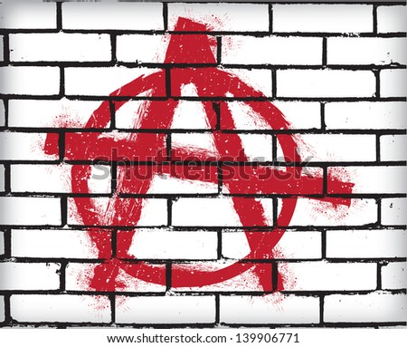 Anarchy symbol on the brick wall