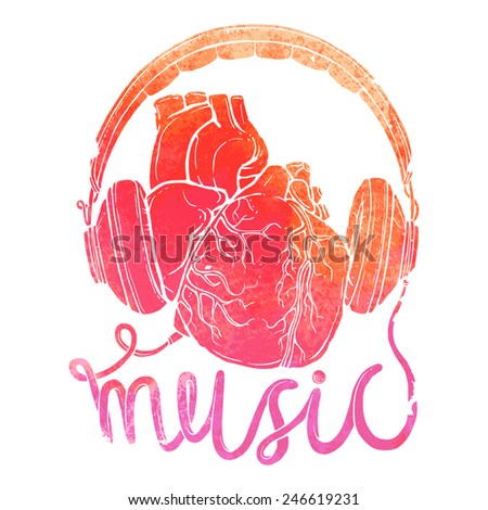 anatomical heart with headphones, hand drawn illustration of music concept with watercolor texture - stock vector