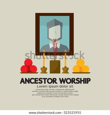 Ancestor Worship Vector Illustration - stock vector