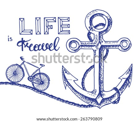 anchor and bicycle - travelling poster concept - stock vector