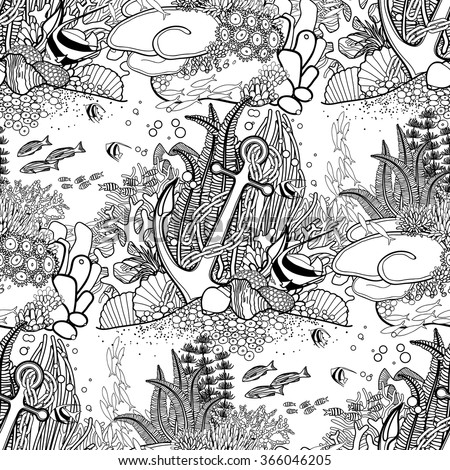 anchor and coral reef drawn in line art style ocean seamless pattern in black and - Coral Reef Coloring Pages Kids