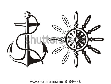 Anchor and helm. Black and white vector illustration isolated on a white background - stock vector
