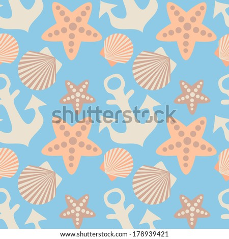 anchor and seashell seamless pattern. EPS 10. No transparency. No gradients.