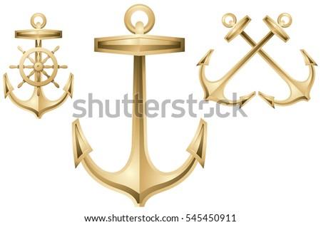 Anchor And Ships Wheel Golden Sea Logo Vector Decorative Design Element