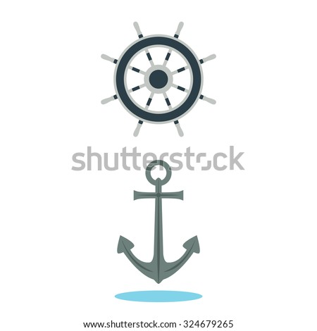Anchor and steering wheel of the ship. Illustration, elements for design.