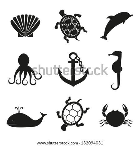 Anchor and underwater inhabitants. Vector. EPS-10 (non transparent elements,non gradient) - stock vector