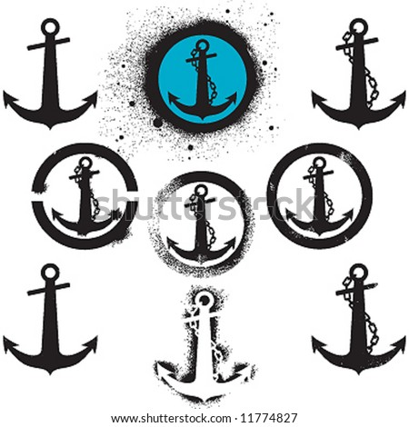 anchor graffiti set - stock vector