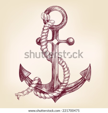 anchor  hand drawn vector llustration realistic sketch - stock vector