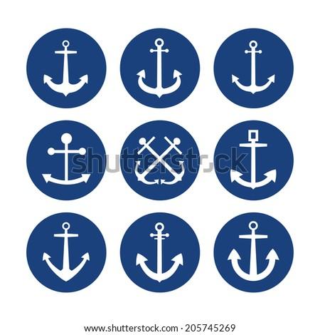 Anchor icon flat vector set - stock vector