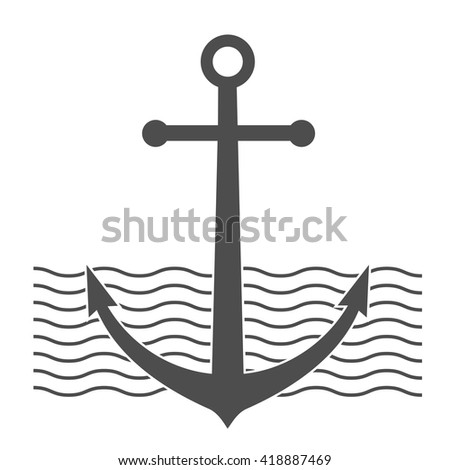 anchor icon. retro badge. black symbol with wawes. vector illustration. anchor sign. sea label.  - stock vector