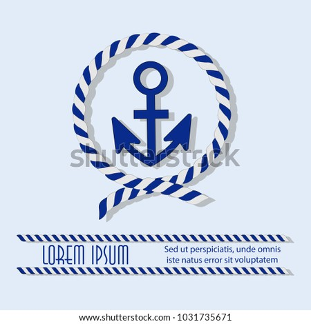 Anchor in a circle with a sea rope emblem sticker poster with place