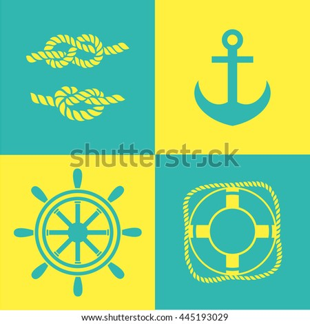 Anchor, knot, steering wheel, lifebuoy, set of icons on the marine theme. Vector illustration.