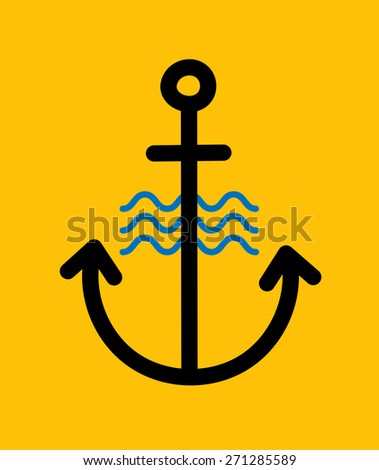 Anchor Logo Icon. Single weight line - stock vector