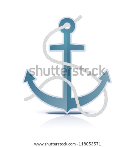 Anchor on white background. Vector illustration. - stock vector