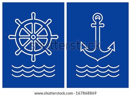 Anchor,ship steering and sea wave