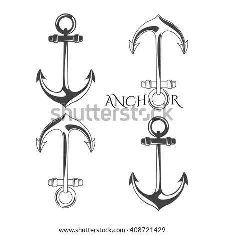 Anchor symbols set in vector illustration. Monochrome.