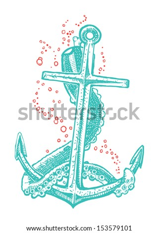 Anchor tattoo - stock vector