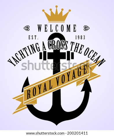 anchor vintage print  - stock vector
