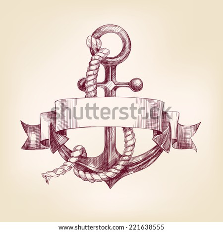 anchor with a banner hand drawn vector llustration realistic sketch - stock vector