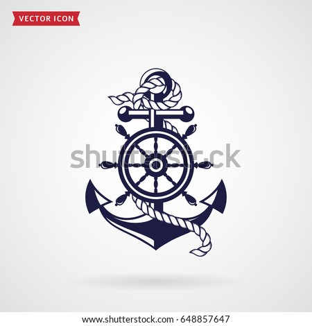 anchor rope steering wheel icon isolated stock vector