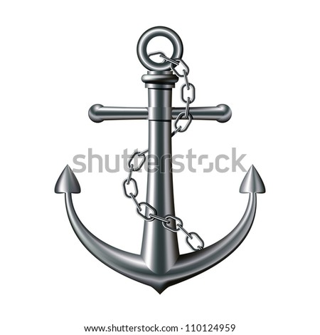 Anchor with chain on white background. Vector illustration