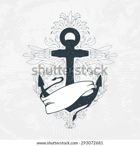 Anchor ribbon hand drawn abstract decoration stock vector for Anchor decoration runescape
