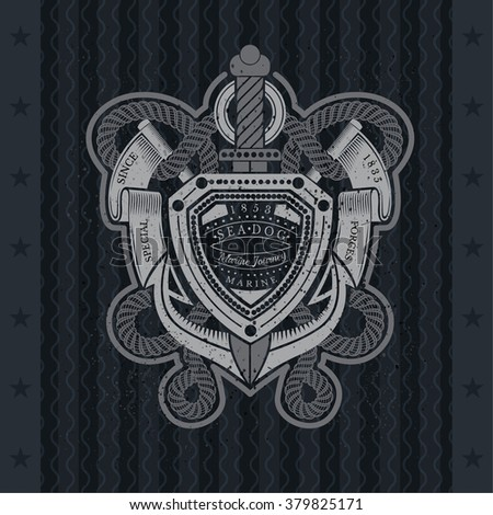 Anchor With Sword Rope And Flags. Sea Special Forses Vintage Label On Blackboard - stock vector
