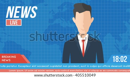 anchorman on tv broadcast news. media on television concept. with globe background. anchor man flat vector illustration - stock vector