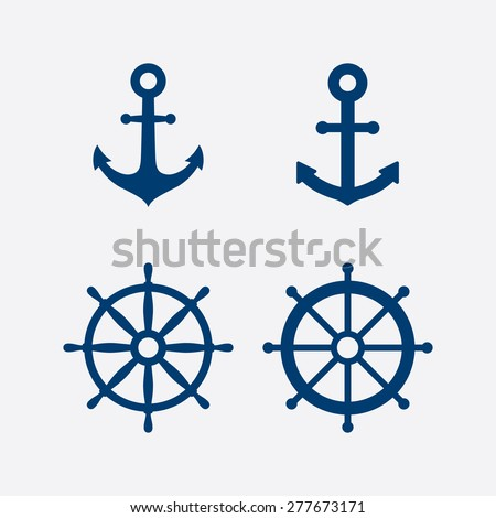 Anchors and steering wheel / ship wheel icons set - Nautical symbols. Vector illustration - stock vector