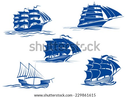 Ancient and medieval sailing ships in blue silhouette showing various tall ships with two or three masts, vector illustration - stock vector