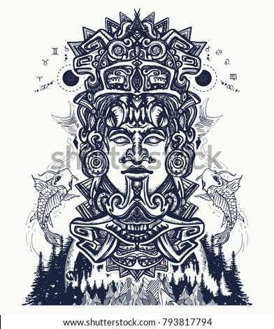 ancient aztec totem mountains mexican god 793817794 shutterstock. Black Bedroom Furniture Sets. Home Design Ideas