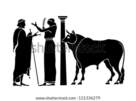 Ancient background with the Greek characters - stock vector