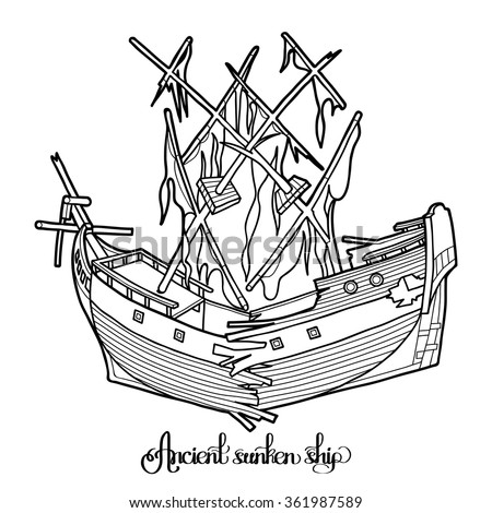 ancient broken sunken ship graphic vector illustration isolated on white background coloring book page