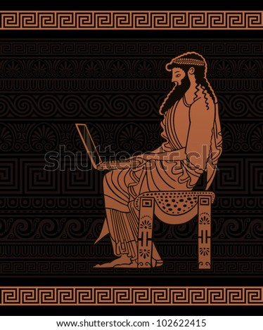 Ancient Businessman with laptop - stock vector