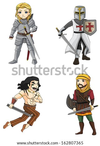 Ancient cartoon male warriors fighters soldier and military warlords from various culture icon character set 4 consists of knight, Persian, barbarian, Crusader, and Celtic warrior. create by vector  - stock vector