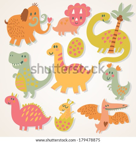 Ancient cartoon set in vector. Funny dinosaurs with mammoth in childish style - stock vector