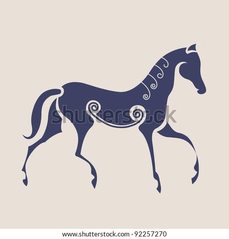 Ancient Celtic symbol of horse. - stock vector