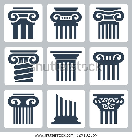 Ancient columns vector icon set - stock vector